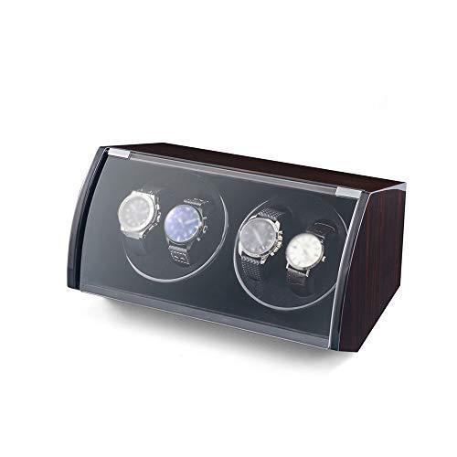 Jlxl Reloj Winder Box 4 Relojes, Exterior Pintura Piano Concha Madera, Cable...