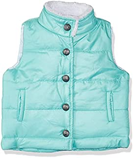 Giggles Solid Buttoned Side-Pocket Fur Lined Quilted Gilet for Girls