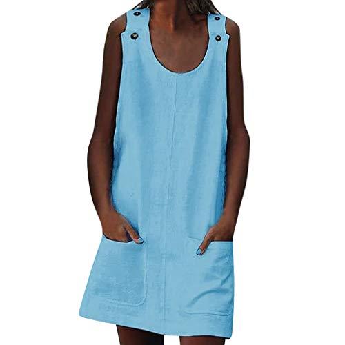 LIMITA Sommerkleid Damen Kleider Damen Tshirt Kleid Rundhals Kurzarm Minikleid Kleider Langes Shirt Lose Tunika Ärmellos Knielang. Freizeit. Party Abendkleider
