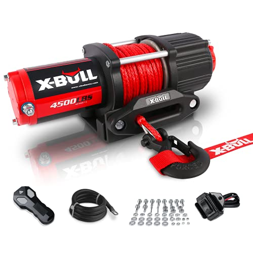 X-BULL 12V 4500LBS Synthetic Rope Electric Winch for Towing ATV/UTV Off Road with Mounting Bracket Wireless Remote