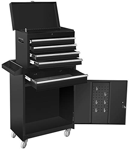 Torin ATBT1204B-BLACK Rolling Garage Workshop Tool Organizer: Detachable 4 Drawer Tool Chest with Large Storage Cabinet and Adjustable Shelf, Black