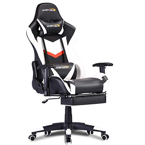 Gaming Chair Office Chair Ergonomic Racing Computer Chair High-Back PU Leather with Headrest, Lumbar Support and Retractable Footrest (2-White)