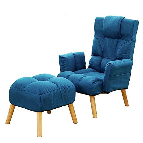 Sofá Silla Moderno reclinable sillón con otomana for Sala de Estar, Dormitorio, Club, Oficina Opcionales Salón Dormitorio Estudio Balcón Sillón (Color : Blue, Size : Free Size)