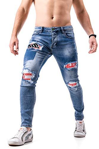 Instinct Jeans Uomo Strappato con Toppe Pantaloni Strappati Slim Fit Estivi Elasticizzati Denim Blu Skinny Cotone 6686B (44, Blu Strappato)