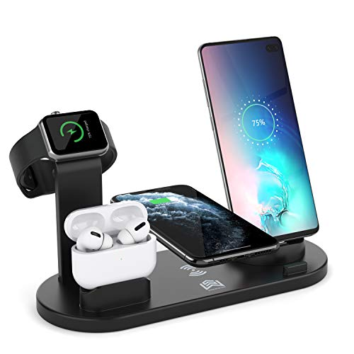 Wireless Charger Stand, 4 in 1 Multi-Function Wireless Charging Station Dock for Apple Watch Airpods, Qi Fast Wireless Charger Holder Pad for iPhone 11 Pro Max XS XR and Smartphone (Black)