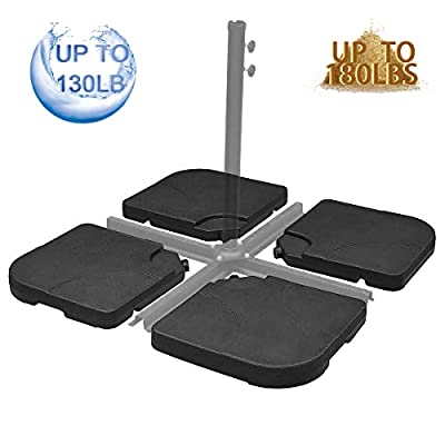 FRUITEAM 4-Piece Offset Umbrella-Base Heavy-Duty Weight Base Water/Sand Filled Up to 180lbs, Cantilever Outdoor Patio Umbrella Square Base Weatherproof Stand-Plate Set Easy-Fill Spouts