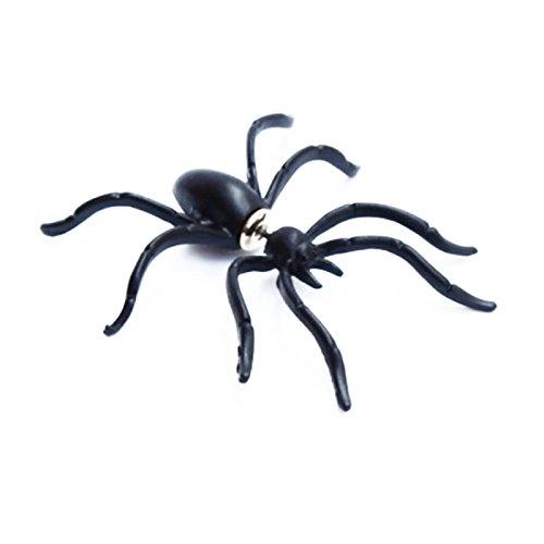 Pinzhi Novedad para mujer 3D Pendientes estereoscópicas animales Araña negra Ear Stud Jewelry 1pc