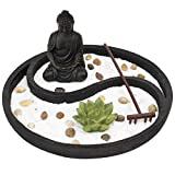 Complete Zen Garden Kit - Meditation Decor for Home or Office Desk - Mini Zen Garden for Mindfulness - Includes Tray, Buddha, Sand, Rocks, and Rake - Great Decorative Gift for Parents or Teachers