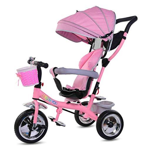 KiMiLIKE Triciciclo 4 en 1 para niños de 3 ruedas con pedales plegables, toldo retráctil triciclo para niños de 1 a 5 años de edad
