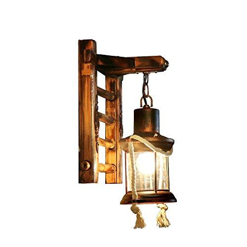 Vintage Eisen Wandlampen, European Village LED Glas Bambus Outdoor Wand Hängelampe Antikes Kreatives Wohnzimmer Gang Balkon Wandleuchte Einfache Persönlichkeit Restaurant Esstisch Wandleuchte
