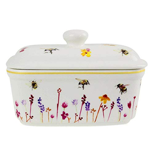 Lidded China Butter Dish Pretty Water Colour Busy Bees Design by Jennifer Rose Gallery