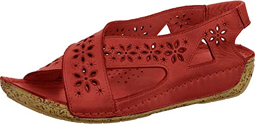 Gemini 032314-02 Damen Sandalen Sandaletten Leder, Schuhgröße:39 EU, Farbe:Rot