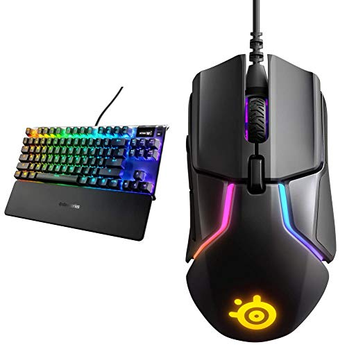 SteelSeries Apex 7 TKL Compact Mechanical Gaming Keyboard (Brown Switch) & Rival 600 Gaming Mouse - 12,000 CPI TrueMove3Plus Dual Optical Sensor - 0.5 Lift-Off Distance - Weight System - RGB Lighting
