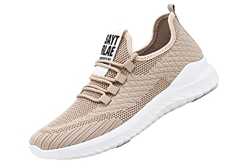 [ガナタ] 運動靴 メンズ シューズ スニーカー ウォーキング ジョギング マラソン スポーツ トレーニング ジム 靴 上靴 室内履き メッシュ 通気性 軽量 軽い 滑り止め 25.5 ベージュ