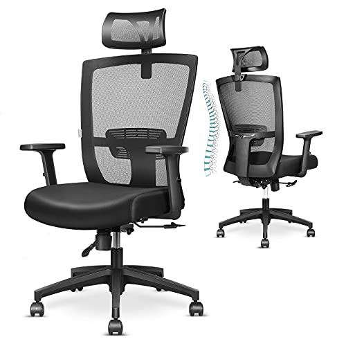 mfavour Ergonomic Office Chair Back Support Desk Chair Adjustable Executive Mesh Chair Armrest Headrest Swivel Home Office Chair with Wheels for Work (Black)
