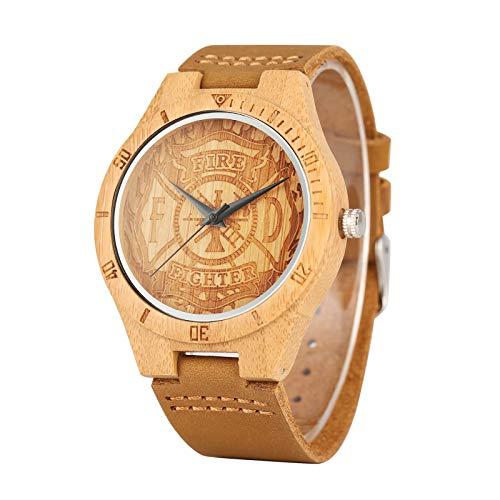 Feuerwehr-Armbanduhr aus Holz, Zifferblatt aus Bambus, Quarz-Uhr, Herren, Sport, echtes Leder, Männliches Bambus-Armband