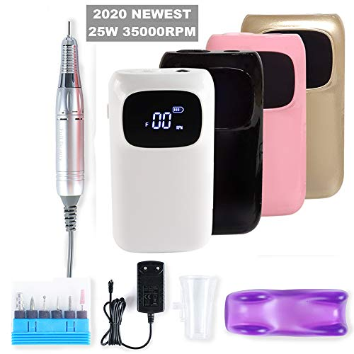Draagbare nagel boormachine Elektrische nagelvijl voor acryl nagels, manicure pedicure polijstset voor het verwijderen van nagellak/gel/nagelriemen op nagels, trimmen en dunner worden,Black