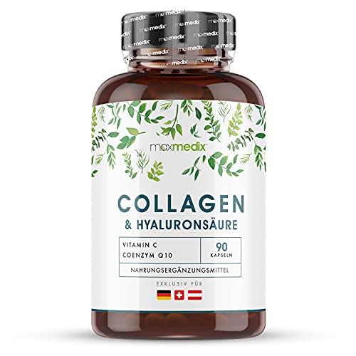 Collagene Marino con Acido Ialuronico + Vitamina C, CoQ10, Zinco - 1200mg - Collagene Idrolizzato Tipo 1 per Uomo e Donna - 90 Capsule di Collagene Marino Senza Glutine e Lattosio - Marine Collagen