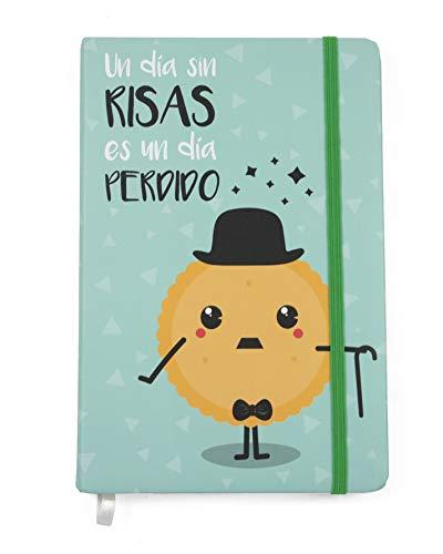 """Cuadernos Bonitos. Cuaderno A5 Diseño Charlotte. Libreta charlotte. Cuaderno De Viaje Con La Frase """"Un Día Sin Risa, Es Un Día Perdido"""". Libretas Bonitas."""