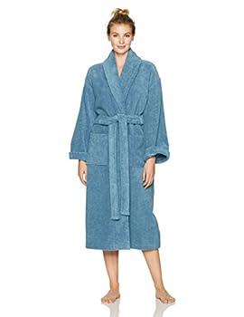 Amazon Brand – Pinzon Terry Bathrobe 100% Cotton Marine Medium / Large