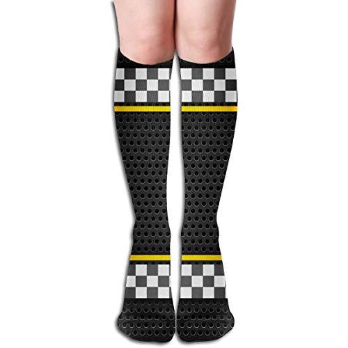 Desing shop Strukturierte metallische perforierte Rennen-Blatt-Schablonen-Flagge 19,7 Zoll-Kompressionssocken-hohe Stiefel-Strümpfe langer Schlauch für das Yoga, das für Frauen-Mann geht