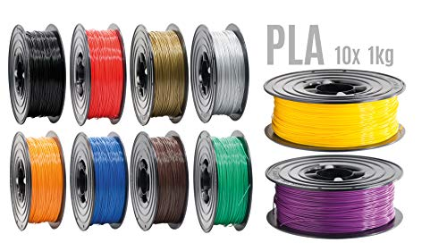 PLA Filament 3D Drucker 1,75mm / 10x 1kg Rolle 10 Farben für 3D Printer oder Stift 3er Set (10Kg)