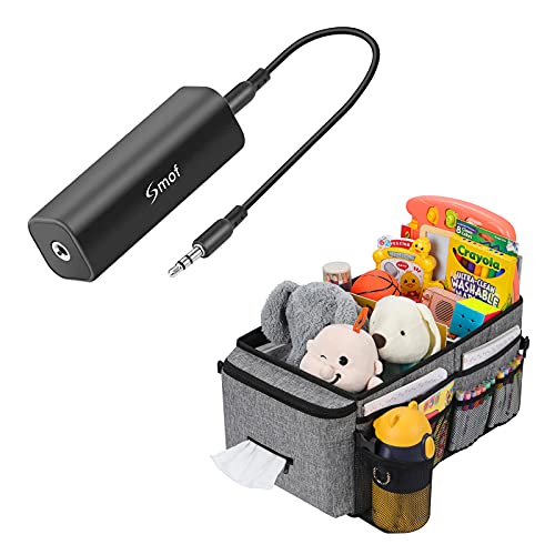 Smof Ground Loop Noise Isolator for Car Audio/Home Stereo System (Eliminate The Buzzing Noise Completely) with 3.5mm Audio Cable, Black Car Organizer- Car Seat Organizer for Front Seat Back Seat