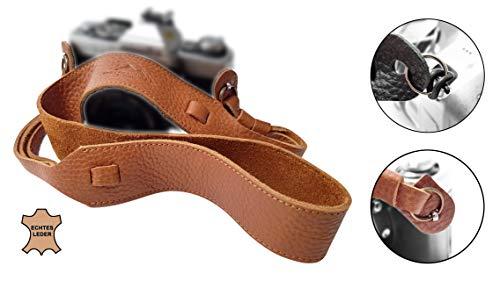 Echt Leder Kameragurt Schultergurt - Hellbraun - für DSLR SLR und Kompakt-Kamera - Leder-Gurt breit Vintage Kameraband Tragegurt Trageriemen - passend für Canon Nikon Sony - MIND CARE ESSENTIALS