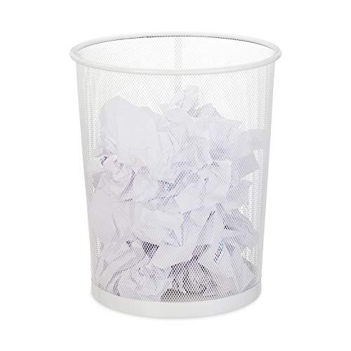 Relaxdays Papierkorb, Büro & Jugendzimmer, offen, rund, Drahtgeflecht, Papiermülleimer, Metall, HxD: 35 x 29,5 cm, weiß, 1 Stück