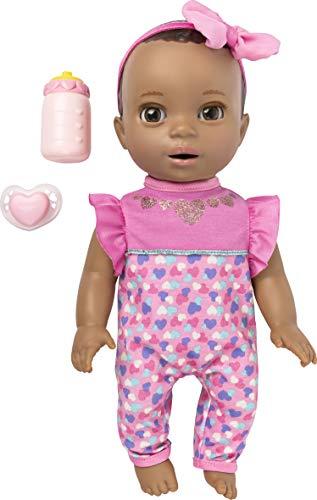 Luvabella Interaktive Babypuppe für Neugeborene, dunkelbraune Haare mit echten Ausdrücken und Bewegung.