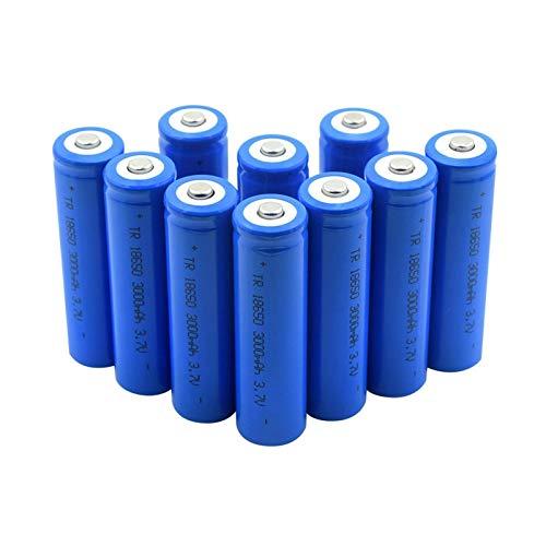 RitzyRose Batería de iones de litio de punta de 3,7 V, 3000 mAh, 18650, baterías recargables para linterna eléctrica, 10 unidades