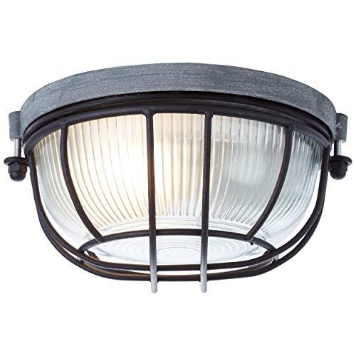 Brilliant Lauren Plafondlamp, wandlamp, 19 cm, rond, beton/zwart, glas, 1 x E27 geschikt voor normale lampen tot maximaal 40 W.