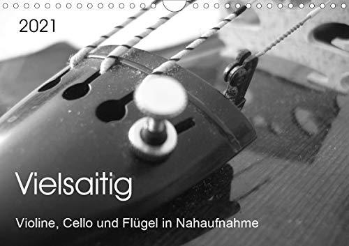 Vielsaitig - Violine, Cello und Flügel in Nahaufnahme (Wandkalender 2021 DIN A4 quer)