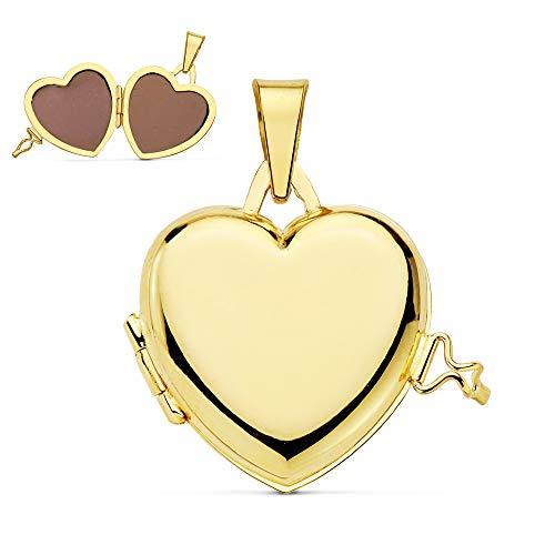 Colgante de mujer Portafotos (guardapelo) Corazón Liso Oro 18 Kilates 21 MM