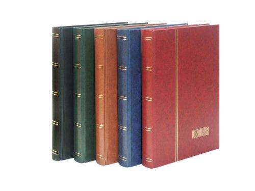 Lindner 1169S Einsteckbuch - Einsteckbücher mit 60 schwarzen Kartonseiten - Einband wattiert - weinrot