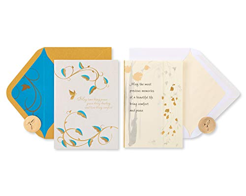 Papyrus Sympathy Cards with Envelopes, Gold Glitter (2-Count)
