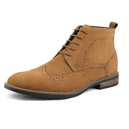 BRUNO MARC MODA ITALY URBAN-02 Men's Classic Lace Up Ankle High Original Suede Leather Perforated Wing Stripe Desert Wind boots TAN SIZE 9.5