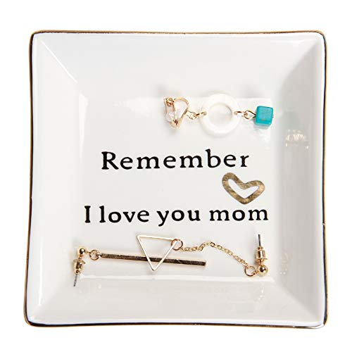 HOME SMILE Birthday Gifts for Mom,Mom Gift-Ceramic Ring Dish Decorative Trinket Plate -Remember I Love You Mom-Mother's Day Christmas Gifts for Mom