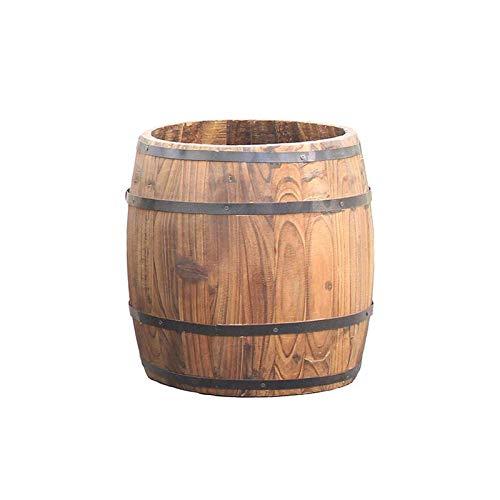 CJSWT Fioriere in Legno per Legno Fioriera a Botte di Whisky,Piante Vaso Scatola Balcone Contenitore in Legno Naturale,W/Fori di Drenaggio, per Fiori, Piante, Fiori,Patio da Giardino Interno Esterno