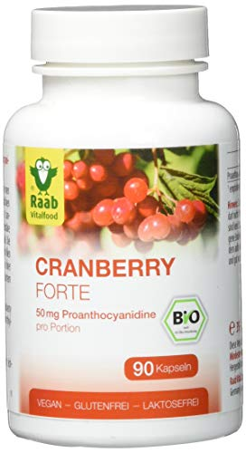 Raab Vitalfood Bio Cranberry Forte Kapseln, 90 Stück, ohne Zuckerzusatz, PAC pro Portion Extrakt, laborgeprüft, glutenfrei, vegan, hochdosiert, 1er Pack(1 x 39.6 grams)