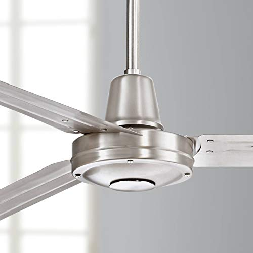 """72"""" Turbina XL Modern Contemporary Industrial Large Outdoor Ceiling Fan with Remote 3 Blade Brushed Nickel Damp Rated for Patio Exterior House Porch Gazebo Garage Barn Roof - Casa Vieja"""
