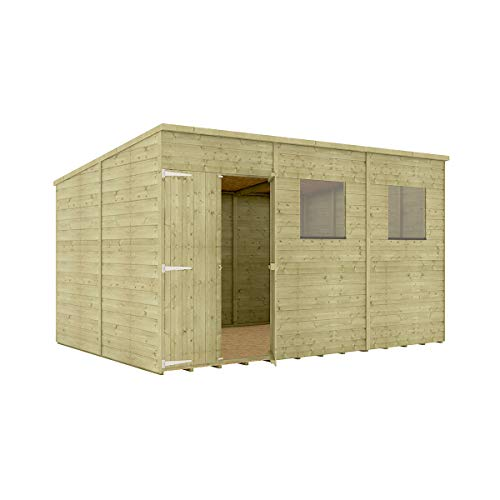 Project Timber 12 x 8 Pressure Treated Hobbyist Pent Shed Tongue & Groove Shiplap Cladding Construction Offset Door OSB Floor Wooden Garden Shed 3.65m x 2.43m