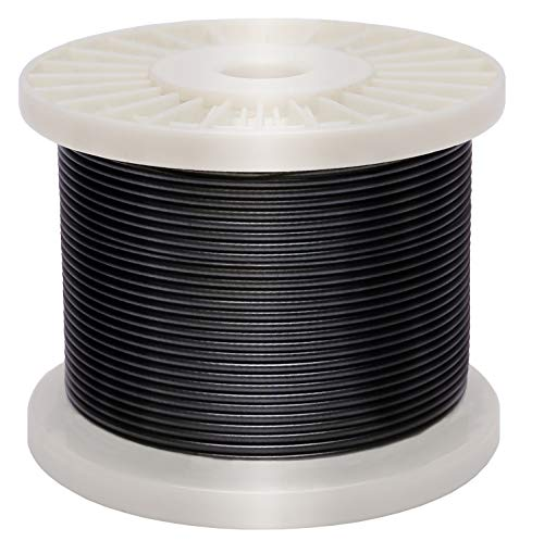 Derrun Vinyl Coated Cable,Black Coated Covered 304 Stainless Steel Wire Rope, 400 Feet 1/16 Inch Overmolded to 3/32 Inch