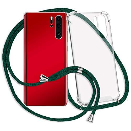 mtb more energy® Handykette kompatibel mit Motorola One Macro (6.2'') - dunkelgrün - Smartphone Hülle zum Umhängen - Anti Shock Strong TPU Hülle