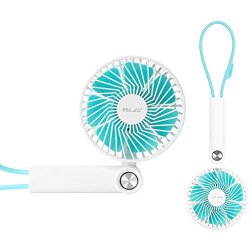 ELZO Handhållen elektrisk mini bärbar utomhusfläkt 2600 mAh, 3 hastigheter justerbar, uppladdningsbar handfläkt för resor hem kontor camping, vit 2600mAh Vitt