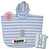 SET Kinder Poncho + Waschlappen personalisiert | 100% Baumwolle | personalisiert mit Namen | Baby Kapuze Bademantel | Badeponcho | Kinder Badetuch | bis 4 Jahre (hellblaue Streifen)