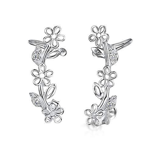 Amberta 925 Sterling Silber - Ohr Kletterer Ohrringe - Ohrklemmen für Damen - Zirkonia Kristall - Design mit Blumen