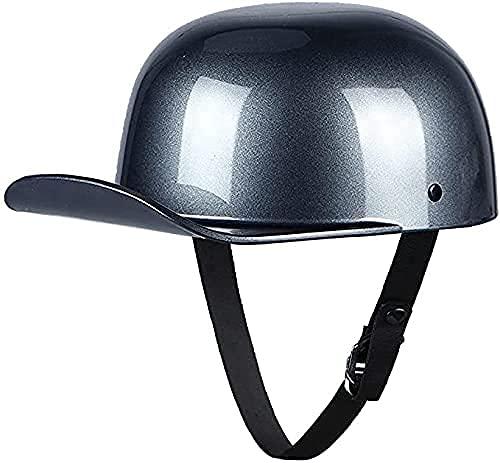 XFXDBT Casco retro de motocicleta para hombres y mujeres, aprobado por DOT/ECE para adultos de moda gorra de béisbol modelado de cara abierta, casco de moto Cruiser Chopper ciclomotor, scooter