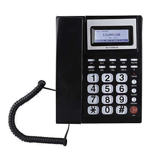 V BESTLIFE Teléfono Fijo con Cable con Altavoz LCD Pantalla Grande Muestra Las Llamadas Entrantes con Juego de Extensión de Doble Puerto para Negocio,Oficina(Negro)