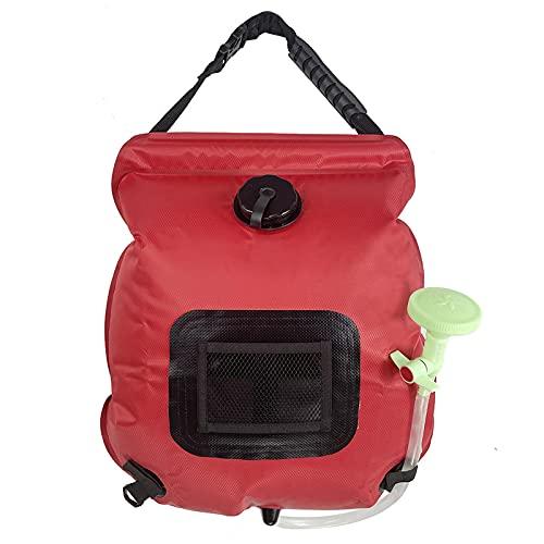 GMLT Bolsa De Ducha Solar, 20L Bolsa De Ducha De Camping Solar Calentar Solares Bolsa De Agua Portátil Bolsa De Ducha De Acampada Escalada Ducha Aire Libre Ducha con Pantalla De Temperatura,Red